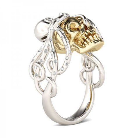 Jeulia Two Tone Round Cut Created White Sapphire Octopus Skull Ring