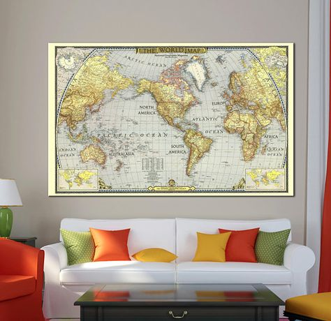 Large Old detailed World Map Canvas Print Vintage World Map Wall Art ...