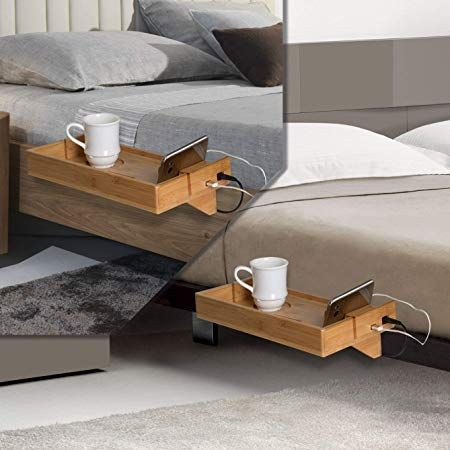 Amazon Com Bamboo Bedside Bed Shelf With Usb Ports To Charge