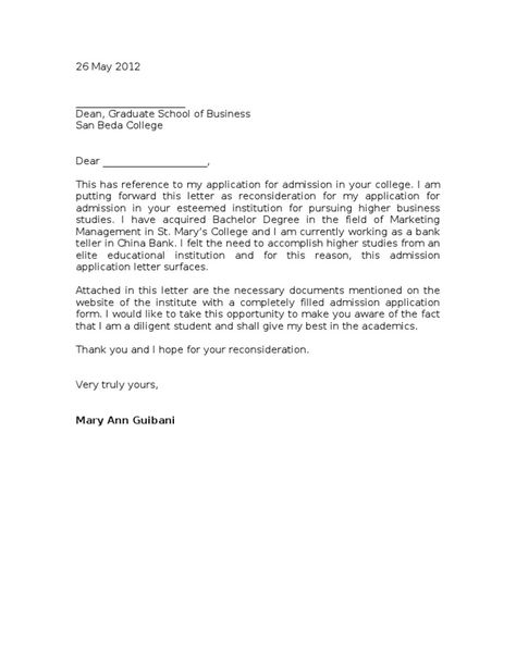 Letter Of Reconsideration For College Admission Rome