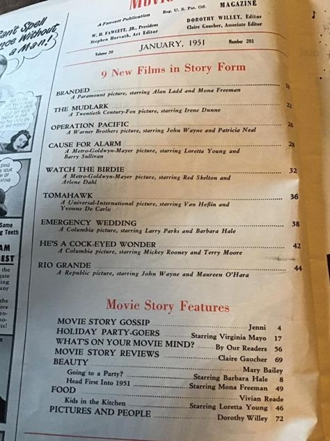Vintage 1950's Magazine Dated January 1951 *MOVIE STORY* Some Fashion/Advertising/Articles/Gossip Has Condition Issues Sold As Is!!