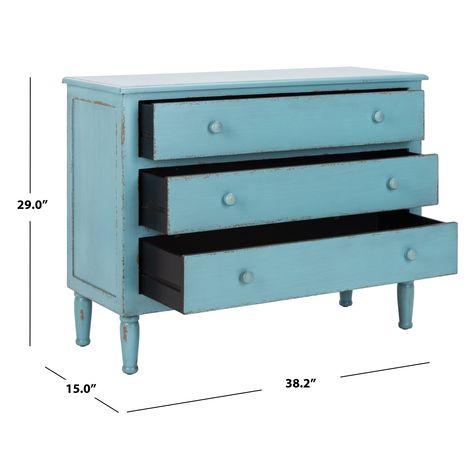 Safavieh Talbet Distressed Blue 3-Drawer Storage Chest