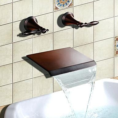 Fancy Bronze Tub Faucet Oil Rubbed Bronze Finish Waterfall