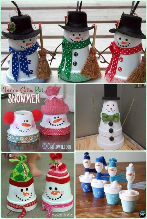 DIY Clay Pot Snowman Instruction - DIY Terra Cotta Clay Pot Christmas Craft Ideas by cindy