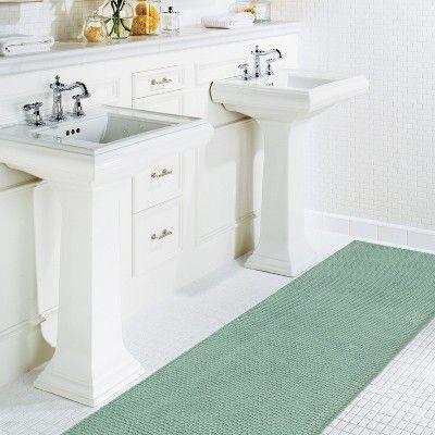 22 X60 Low Chenille Memory Foam Bath Rugs Mats Surf Blue