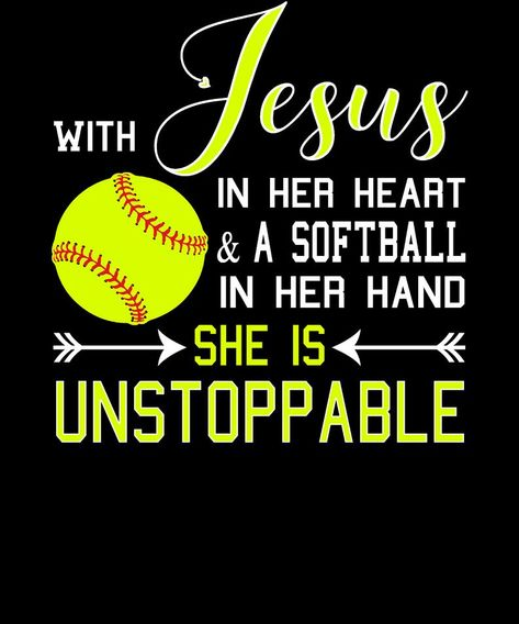 Christian Softball Hoodie, With Jesus In Her Heart & A Softball In Her Hand She Is Unstoppable Fastpitch Sweatshirt, Softball and Jesus