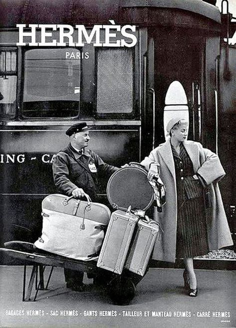 There is something so romantic about retro train travel. 'Vintage Train Travel H. - There is something so romantic about retro train travel. Vintage Luggage, Vintage Travel, Vintage Ads, Vintage Photos, Hermes Vintage, Vintage Style, Vintage Decor, Vintage Suitcases, Vintage Market