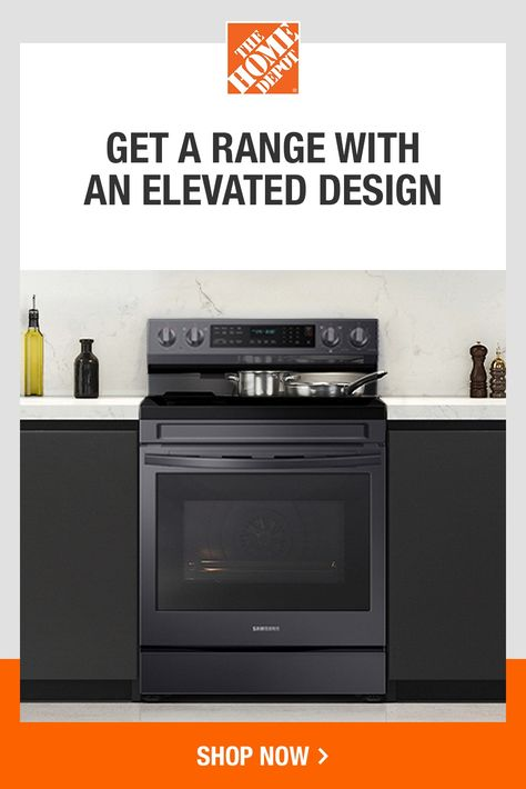 When you want a modern range that will elevate the look of your whole kitchen, look to the Samsung Smart Freestanding Electric Range. This stainless-steel, fingerprint-resistant design includes No-Preheat Air Fry and a Removable Non-Stick Griddle. It also includes Wi-Fi connectivity and Voice Control, so you can easily set the time and temperature with your smartphone or voice. Click to shop now at The Home Depot.