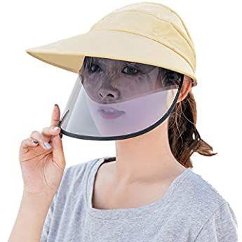 Bazhahei Transparente Schutzhut Cap Hat Schutzhutabdeckung Outdoor Gesichtsschutz Visier Hut Antibeschlaghut Sonnenhut Weibliche Staubd Hut Sonnenhut Stil Mode
