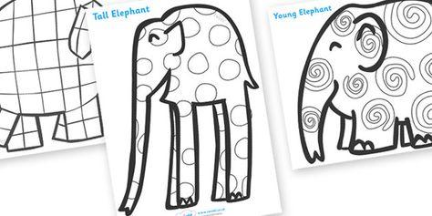 Elmer Patterns Colouring Sheets  Ideas para la clase  Pinterest