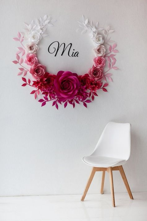 This Ombre Paper Flowers Wall Decor is probably a awe-inspiring wedding or baby shower (nursery decor) idea! The selection of ombrè colors from white and light pink to hot pink will add wow-factor to the entire decoration. This paper flower set of 17 Unique Large Paper Flowers + 28 paper