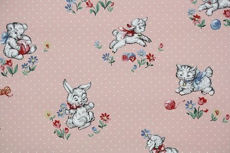 1950 S Vintage Wallpaper Children Nursery White Bunny Lamb And Kitten On Pink Design Pattern Pinterest Wallpapers