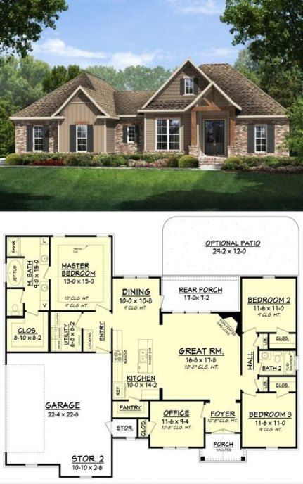 25 Super Ideas House Plans One Story Retirement Attached Garage Craftsman Style House Plans Home Design Floor Plans New House Plans