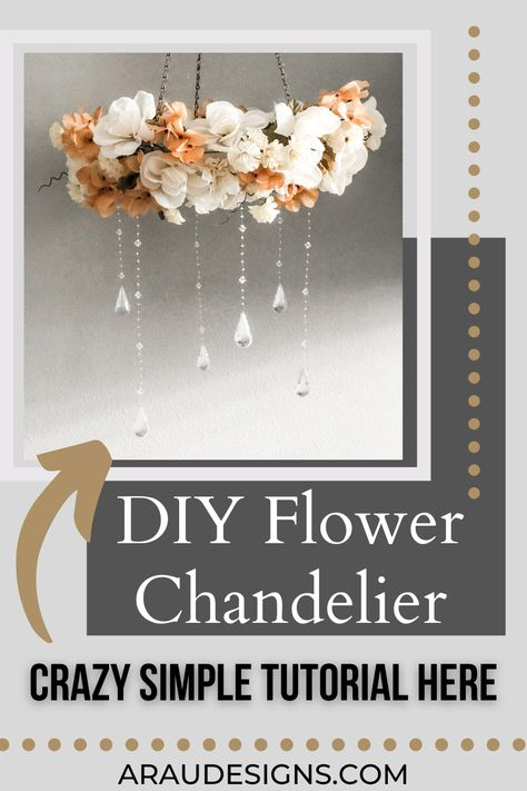DIY Flower Chandelier by AraUDesigns DIY for Wedding, Baby, and Home Decor. Want an eye-catching decor piece for your wedding or baby nursery? Learn how to make this affordable chandelier that would be perfect in any girls rooms or bedroom. Place it on the ceilings above cribs and toddler beds! Or create a one-of-a-kind wedding chandelier by adding light to bring a romantic ambiance to your wedding reception. Visit Araudesigns.com for more DIY decor ideas! #araudesigns #diy #flower #chandelier