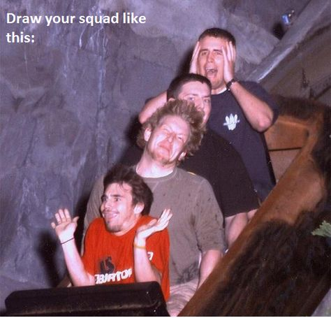 Draw the squad 4 Drawing Meme, Drawing Prompt, Draw The Squad, Squad Pictures, Funny Pictures, Squad Photos, Kid Photos, Roller Coaster Pictures, Roller Coasters