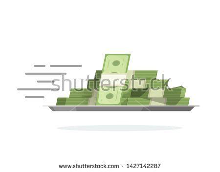 Stock Vector Fast Flying Money Pile On Tray Vector Illustration Flat Cartoon C Cartoon Fast Flat Flying Illustration Money Pile Stock Tray Vecto