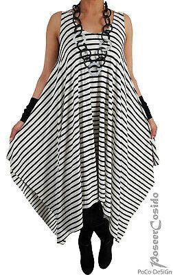 PoCo LAGENLOOK Tunika Long-Shirt Kleid L-XL-XXL-XXXL 44 46 48 50 schwarz weiß