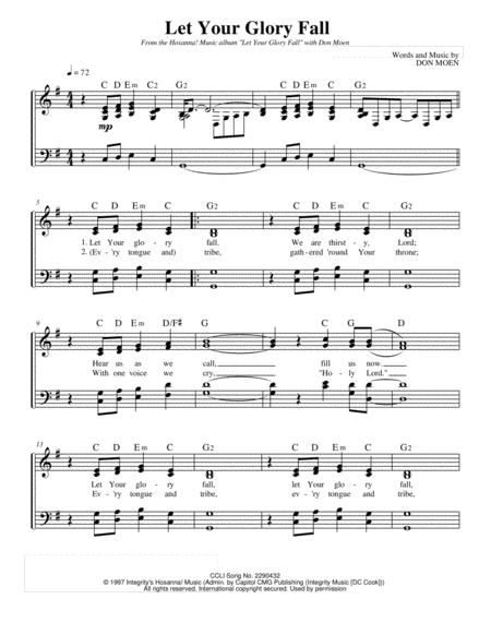Let Your Glory Fall Don Moen Vocal Sheet Music Sheet Music Digital Sheet Music Don Moen