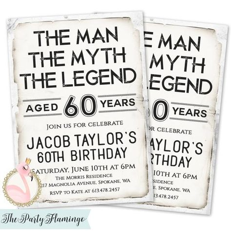 The Man Myth Legend Invitation Mens Birthday Invitations 60th Invites