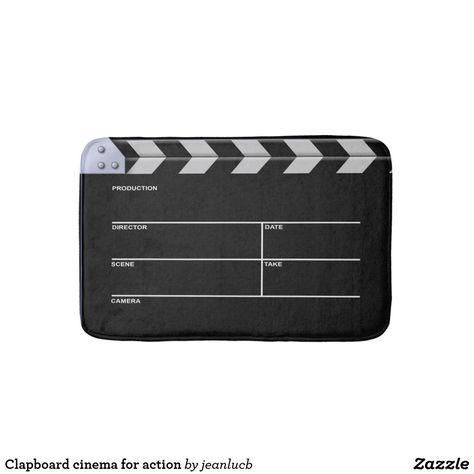 Clapboard Cinema For Action Bathroom Mat Zazzle Com