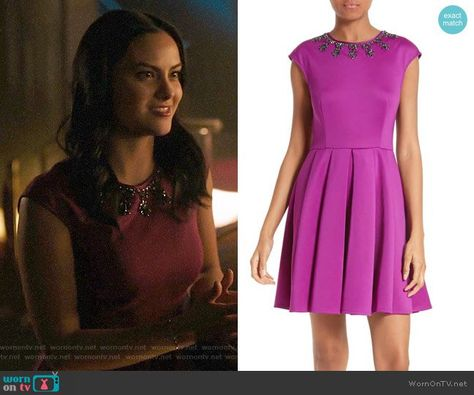 48e8b89ad06 Veronica s magenta dress with embellished neckline on Riverdale