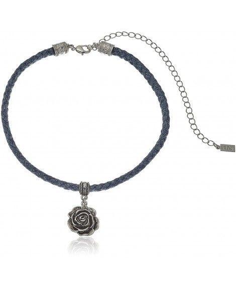 1928 Jewelry Blue Rope Silver Tone Flower Pendant Adjustable Choker Necklace 12 Jewelry Women Choker Necklace Ear Stud Earrings Jewelry Design