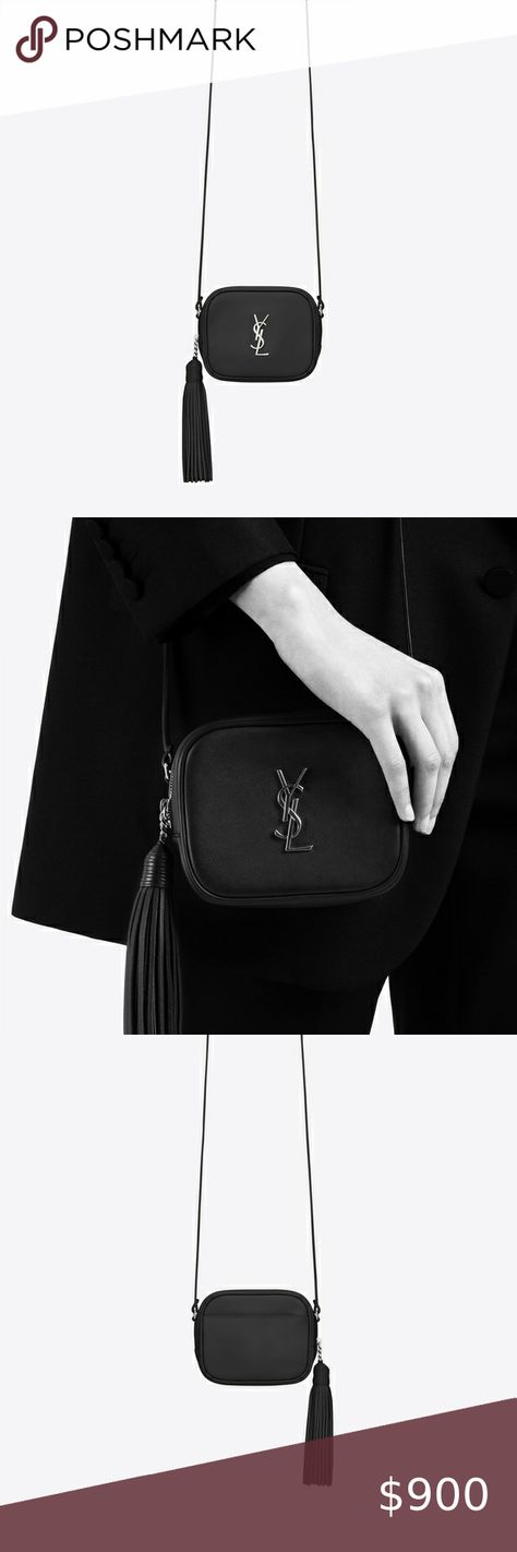 ysl monogram blogger bag black Yves Saint Laurent classic monogram blogger crossbody bag black with silver hardware Includes authenticity card, dust bag and box. Yves Saint Laurent Bags Crossbody Bags