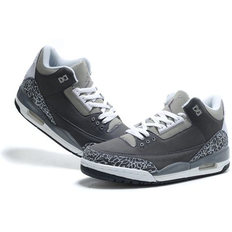 hot sale online a80fb e69c3 TOP A+ Nike Air Jordan 3 Suede Sneakers Grey White TAJ3-002 ❤ liked on  Polyvore