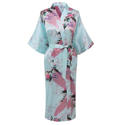 204075a18e Beautiful full coverage long kimono style robe for women - This is a lightweight  robe that is made with a blend of silk and rayon and features a floral ...