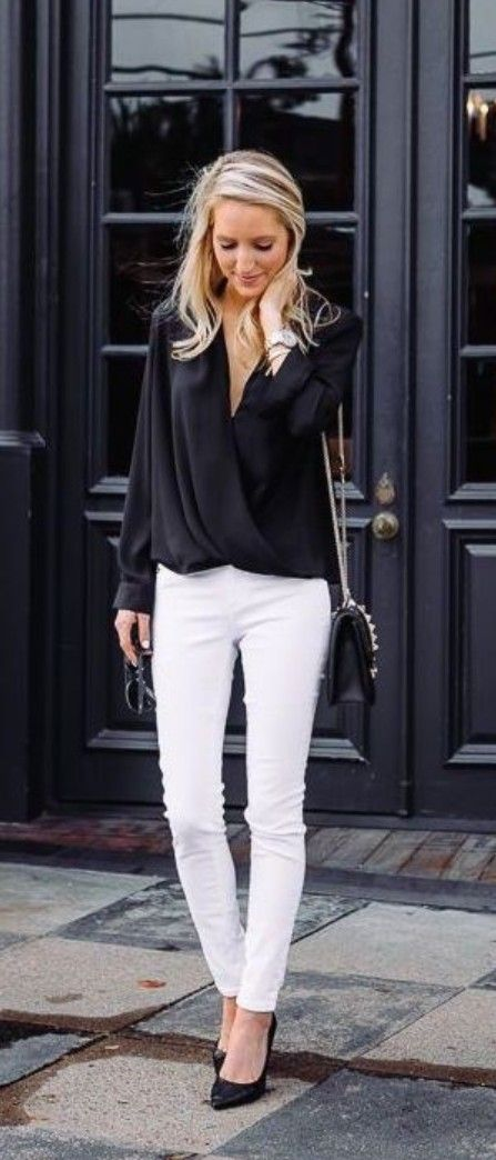 Pin By Wendy Ertel On Looks Roubados Fashion Business Casual Outfits White Pants Outfit