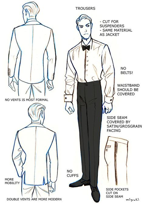 """badass-art-tutorials: """"miyuli: """" I've been studying the classic black tie dress code (mainly from here) so I thought I could share my notes. Maybe they can be helpful to someone else, too. If I made any mistakes or things are really confusing please. Art Reference Poses, Design Reference, Drawing Reference, Drawing Tips, Black Tie Dress Code, Oc Manga, Poses References, Drawing Clothes, Anime Outfits"""