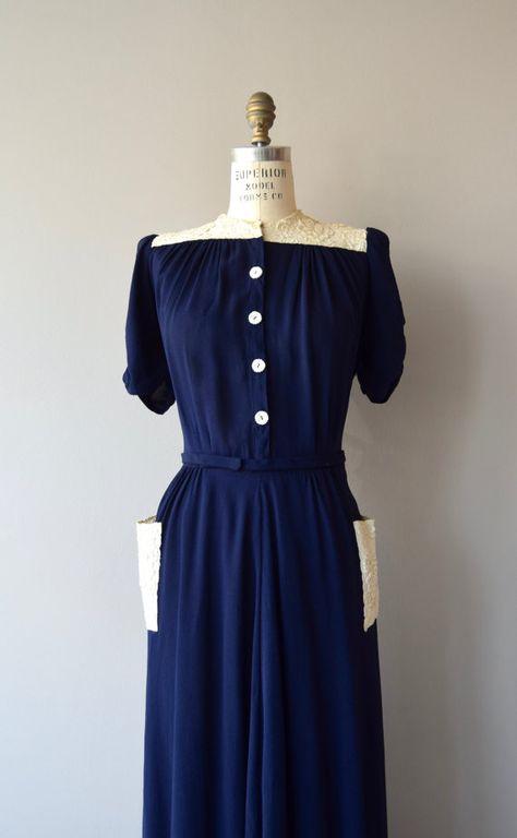 Ortschaft Dress Vintage 1930s Dress Long Crepe 30s Dress