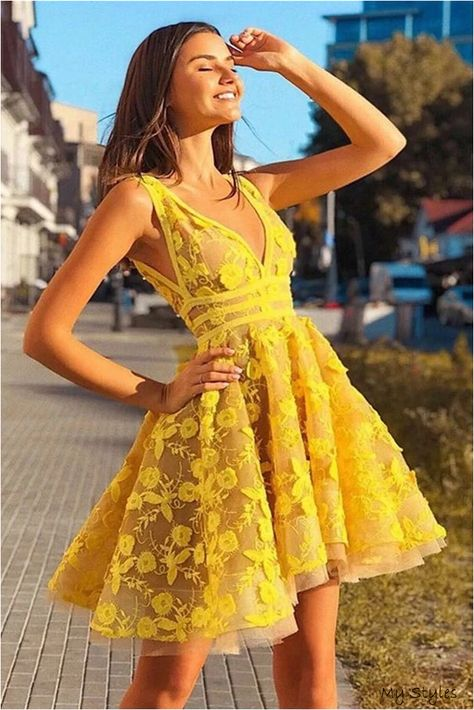 Vintage Yellow Lace Appliques V Neck Short Party Dress Above Knee Homecoming Dress H1149 #wedding #dress