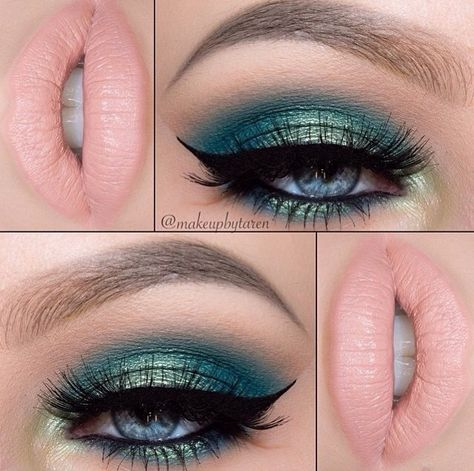 Shimmering green shadow + pale peach pink lip = heavenly!
