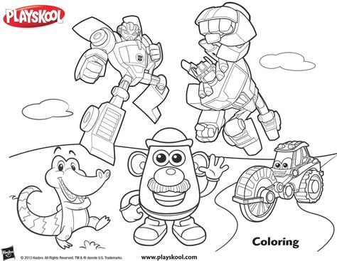 All of your favorite Playskool pals are out to play! Let's get coloring! Playskool, Coloring, Activity, Kids, Toys