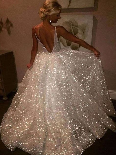 White Sequin Glitter V-Neck Backless Sleeveless Elegant Maxi ., White sequin glitter v-neck backless sleeveless elegant maxi dress evening dress. Pretty Prom Dresses, Hoco Dresses, Dream Wedding Dresses, Dance Dresses, Ball Dresses, Beautiful Dresses, Dress Prom, Wedding Gowns, Formal Dresses