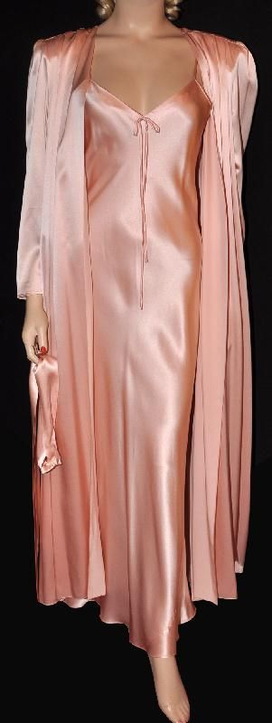 (SOLD) Irresistible Neiman Marcus! 1970s Sumptuous Silk Satin Peignoir Set Sz- M (35) (#1460)