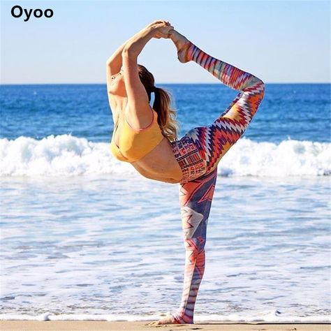 0d5a0a2466 Oyoo retro geometric printed yoga pants women bohemia colorful workout gym  leggings rainbow fitness tights sports clothing #Affiliate