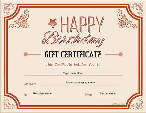 Birthday Gift Certificate for MS Word DOWNLOAD at   - name a star certificate template
