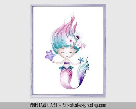 Mermaid Wall Art Kids Bathroom Decor Little Girls Turquoise Room Decor Nautical Ocean Nursery Art Under the Sea Theme Art Printable 8x10#8x10 #art #bathroom #decor #girls #kids #mermaid #nautical #nursery #ocean #printable #room #sea #theme #turquoise #wall