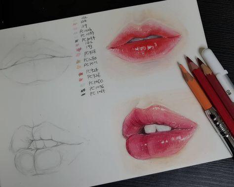"Photo of songbly on Instagram: ""그림 그릴때 아무 생각없이 그리다가 뭔가 계획을 잡고 그릴려니 넘 어렵네요?? . . #colorpencil #lips#drawings"""
