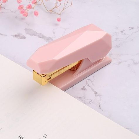 Pink and Gold Gem Shaped Stapler Pink Desk Accessories Cute Office Supplies Home Office Supplies Cute School Supplies Staplers Cute Office Supplies, Cool School Supplies, College School Supplies, School Stationery, Cute Stationery, Stationary, Stationery Store, School Accessories, Desk Accessories
