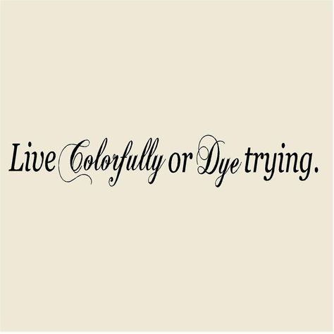 """Live Colorfully or Dye Trying 8""""H x 48""""W Salon Vinyl Wall Decal-Beauty Salon Wall Sticker Mural-Hairdresser Hair Stylist Salon Decor by VinylDesignCreations on Etsy"""