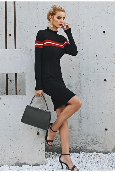 11++ Black long sleeve slim striped bodycon dress trends