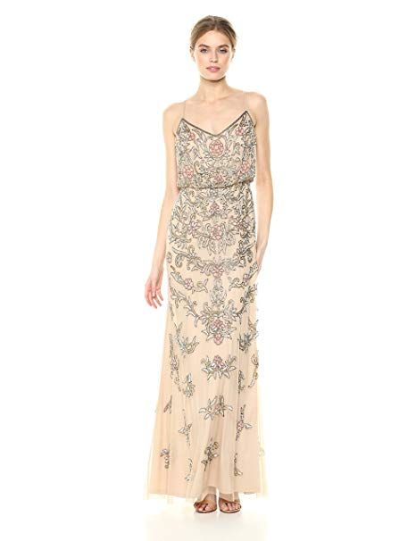 Adrianna Papell Women S Multi Colored Floral Beaded Blouson Gown At Amazon Women S Clothin Orange Bridesmaid Dresses Wedding Dress Material Red Wedding Dresses