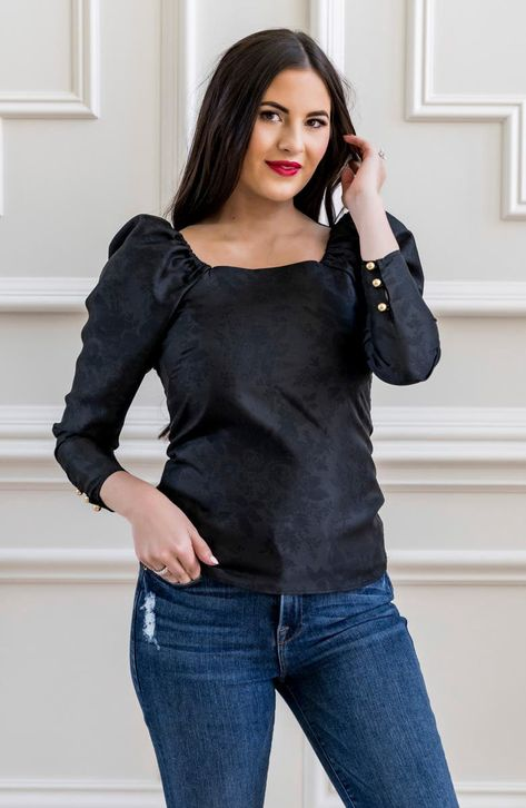 This sleek and romantic top is cut from silky floral-jacquard fabric and is sweetly styled with a square neckline and softly puffed shoulders.