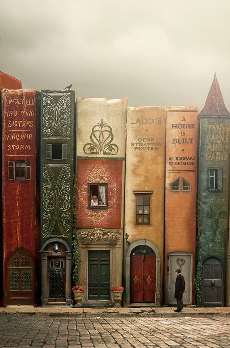 """""""The Stories of Our Lives"""" by Tracy Lundgren Fantasy Landscape, Fantasy Art, Art Fantaisiste, Book Wallpaper, Arte Sketchbook, Book Aesthetic, Book Nooks, Whimsical Art, Book Crafts"""