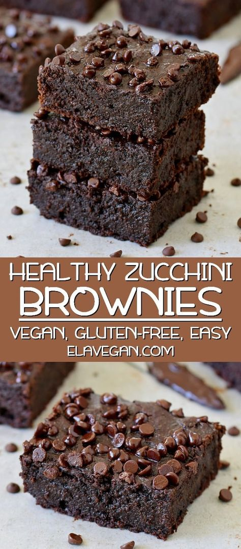 Vegan zucchini brownies which are soft moist gooey fudgy and very chocolaty! The recipe is plant-based gluten-free easy to make and delicious! Enjoy this vegan chocolate cake with your family and friends. Kids will love this healthy chocolate dessert. Healthy Chocolate Desserts, Healthy Sweets, Healthy Dessert Recipes, Healthy Baking, Easy Desserts, Whole Food Recipes, Cake Chocolate, Mini Desserts, Delicious Chocolate