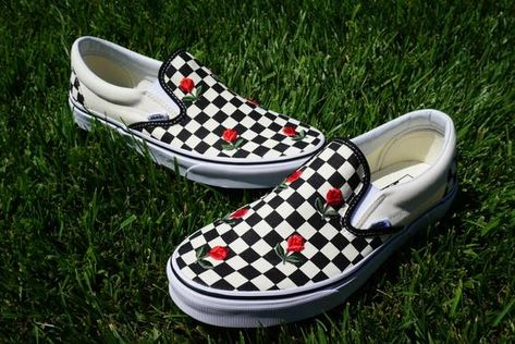 b2f95e2b92a4 Checkered Slip On Vans Mini Rose Embroidery Shoes