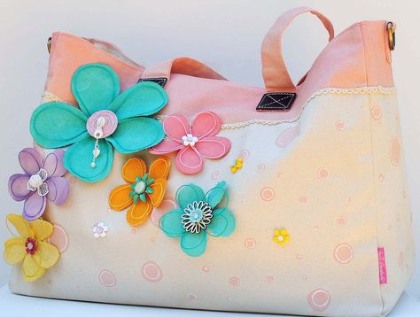 """Bloomin Tote Bag- """"NEW PRIMA"""" - Scrapbook.com- embellish your tote with Prima details and flowers!"""